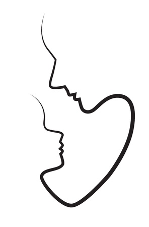 Silhouettes of faces of mother and child isolated on white