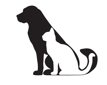 Silhouette of black dog and white cat isolated on white