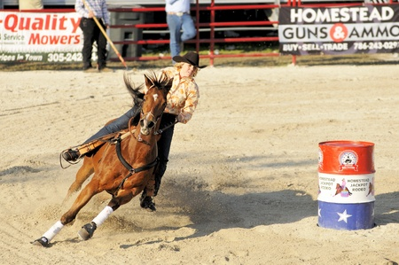 HOMESTEAD, FL - JANUARY 25 Riding Performance at DeMilly Rodeo Arena January 25, 2009 in Homestead, FL.