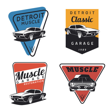 Photo pour Set of classic muscle car emblems, badges and icons. Service car repair, restoration  and car club design elements - image libre de droit