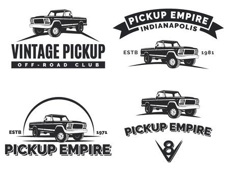 Illustration for Set of suv pickup car emblems, labels and . Offroad extreme pickup design elements, 4x4 vehicle illustration. - Royalty Free Image