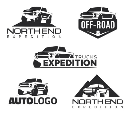Ilustración de Set of modern suv pickup emblems, icons . Offroad  pickup design elements, vehicle illustration. Suv car template. - Imagen libre de derechos