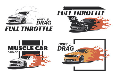 Illustration pour Set of muscle , badges and emblems isolated on white background. Service car repair, car restoration and car club design elements. T-shirt design. American muscle car for printing. - image libre de droit