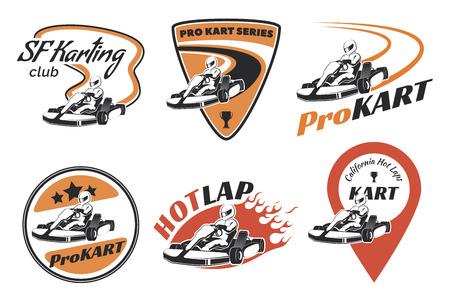 Ilustración de Set of kart racing emblems, and icons.illustration with karting elements. Kart racer with helmet. - Imagen libre de derechos