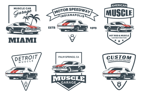 Illustration for Set of classic muscle car icon, emblems, badges and icons isolated on white background. Service car repair, car restoration and car club design elements. - Royalty Free Image