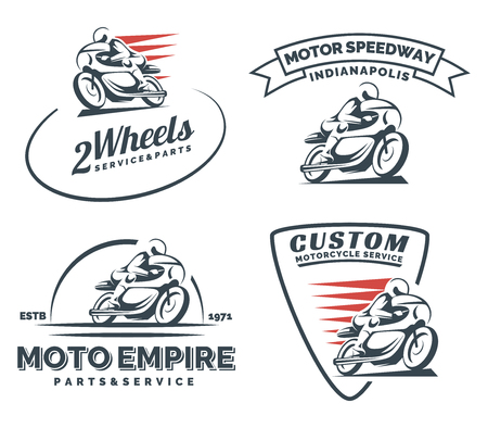 Illustration pour Vintage cafe racer motorcycle icon, badges and emblems isolated on white background. Motorcycle restoration, service and parts. Classic motorcycle t-shirt design. - image libre de droit