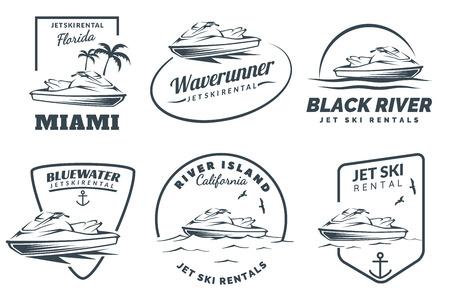 Ilustración de Set of jet ski rental  on white background. Watercraft vehicle illustration. - Imagen libre de derechos