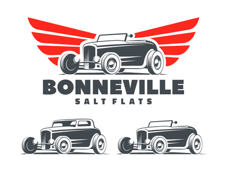 Ilustración de Retro Hot Rod with stylized wings logo. Bonneville salt flats racing logo. Roadster and coupe Hot Rod isolated on white background. - Imagen libre de derechos