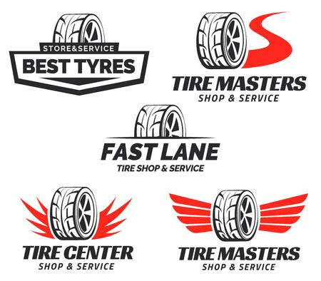 Ilustración de Set of Tyre Shop Logo Design. Wheel repair service. Tire storage company logo. - Imagen libre de derechos