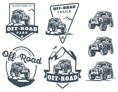 Illustration for Set of off-road suv car monochrome logo, emblems and badges isolated on white background. Rock crawler car in mountains. Off-roading trip emblems, 4x4 extreme club emblems. - Royalty Free Image