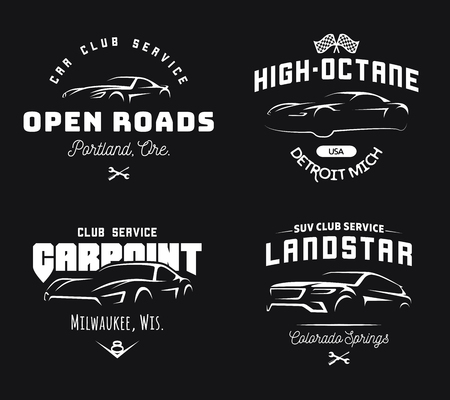 Ilustración de Set of modern sports car and SUV logo, emblems and badges on black background. - Imagen libre de derechos