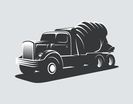 Classic concrete mixer truck vector illustration.