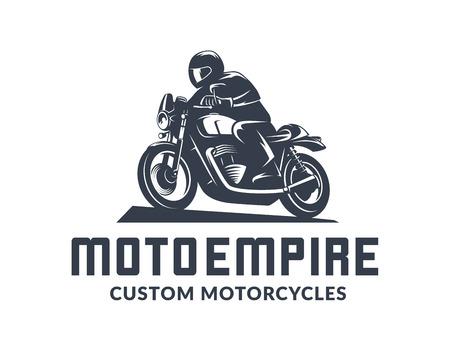 Illustration pour Vintage cafe racer motorcycle logo isolated on white background. Old school sport motorcycle design elements. - image libre de droit