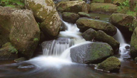A wide shot of a stream with the motion of the water blurred around moss covered rocks and stones