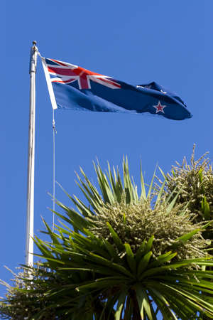 The flag of New Zealand flying over Christchurch