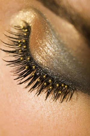 A macro close up of a beautiful woman's made up eye with false eyelashes