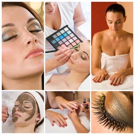Foto de Montage of beautiful women relaxing at a health and beauty spa having their makeup and nails done - Imagen libre de derechos
