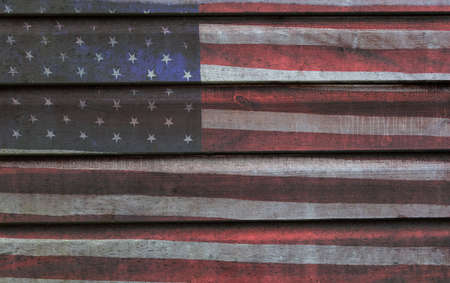 Photo pour Photomerged background of American flag, USA stars and stripes, with wooden planks fence or panelling background - image libre de droit