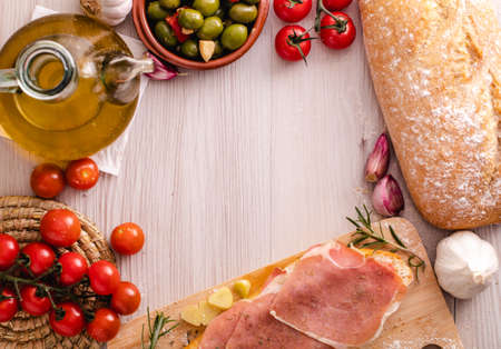 Photo for Toast with ham oil and tomato. Typical spanish food - Royalty Free Image