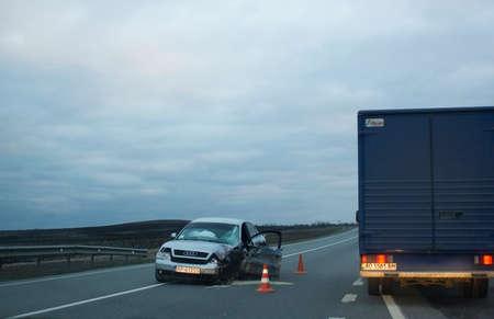 Lvov, Ukraine - 26.03.2017: Car accident on road in evening
