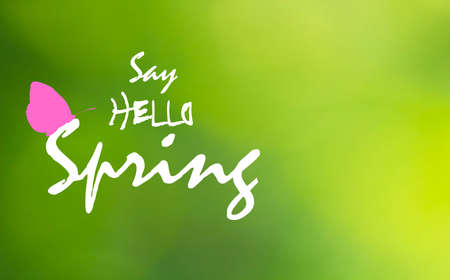Illustration for Say Hello Spring text and pink butterfly on green blurry background. Springtime bright greeting card with flying insect icon silhouette. Floral april wallpaper, vector design eps 10 - Royalty Free Image