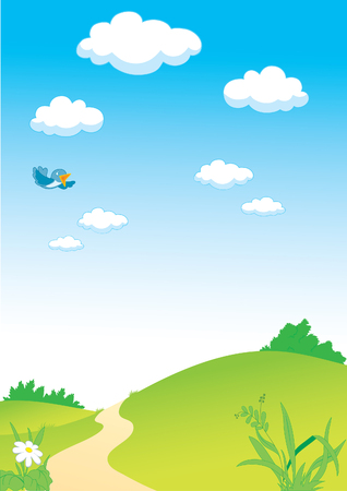 Country landscape with clouds and flying bird