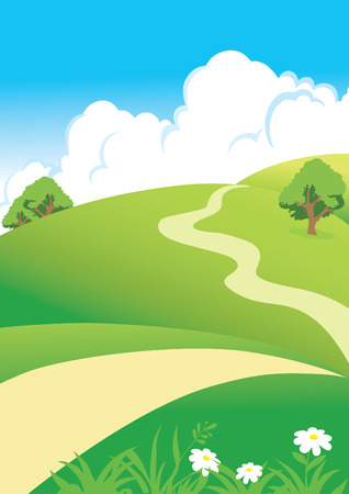 Illustration pour landscape with clouds and road - image libre de droit