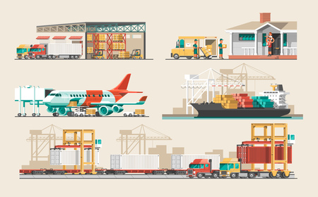 Illustration pour Delivery service concept. Container cargo ship loading, truck loader, warehouse, plane, train. Flat style vector illustration. - image libre de droit