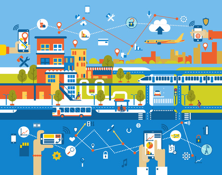 Illustration pour Cityscape background with different icon and elements, modern architecture with mobile phone control. - image libre de droit