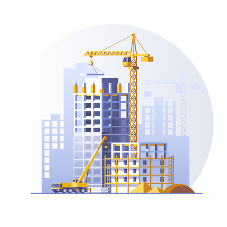 Photo pour Construction of residential buildings. Construction site concept design. Flat style vector illustration. - image libre de droit