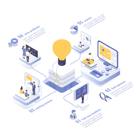 Ilustración de People working in a team and achieving the goal. Startup concept. Launch a new product on a market. Isometric vector illustration. - Imagen libre de derechos