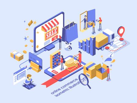 Illustration pour Electronic commerce online concept isometric illustration. - image libre de droit