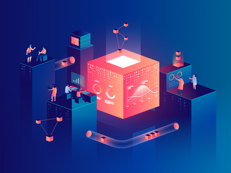 Illustration pour People interacting with charts and analyzing statistics. Data visualization concept. 3d isometric vector illustration. - image libre de droit