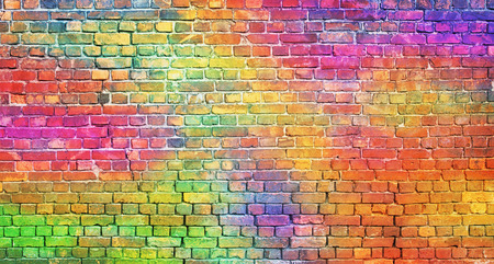 Foto de painted brick wall, abstract background of different colors - Imagen libre de derechos