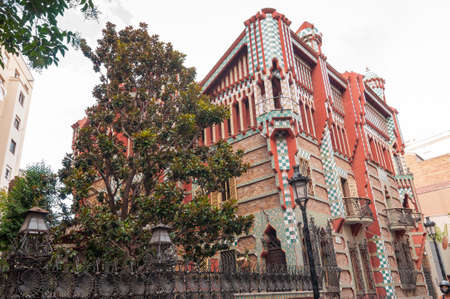 Barcelona - September 19, 2014: Casa Vicens is a modernist building in Barcelona, Catalonia, Spain, designed by Antoni Gaudi. It is considered one of the first buildings of Art Nouveau.