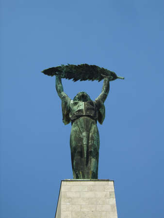 Liberty statue at a top of Gellert hill in Budapest