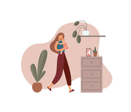 Illustration pour Woman hugging baby at home. Loving mother in casual clothes carrying and embracing little baby while walking near cabinet with decorations and potted plants in cozy room at home - image libre de droit