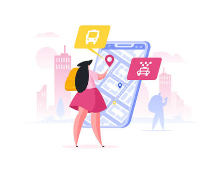 Illustration pour Female tourist with backpack using navigation application on modern smartphone to plan route to destination point while standing on city street. Flat cartoon people vector illustration - image libre de droit