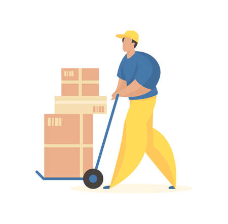 Illustration for Unloading boxes with goods. Male character in uniform with wheelbarrow carrying crates. Cargo delivery and loading service. Special tools for accelerated placement product. Vector flat illustration. - Royalty Free Image