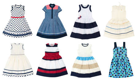 Photo pour Girls dresses isolated on white background. Collage of eight photos. - image libre de droit
