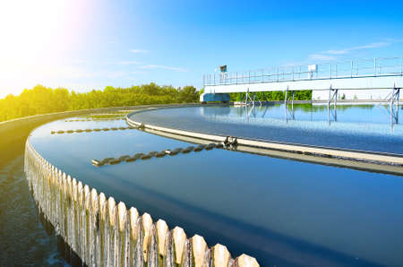 Photo pour Modern urban wastewater treatment plant. - image libre de droit