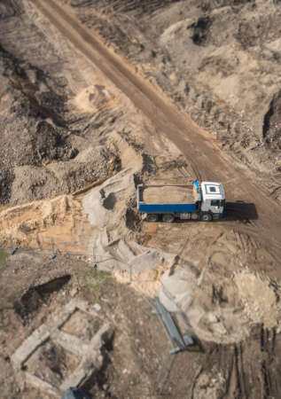 Photo for Truck with gravel on the construction site. View from above. - Royalty Free Image