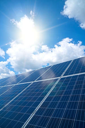 Photo for Blue solar panels over blue sky. Renewable energy. - Royalty Free Image