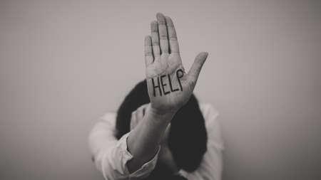 Foto de Depressed woman. Social problems concept. Place for your text. - Imagen libre de derechos