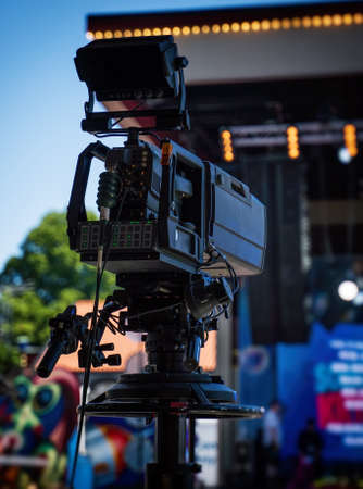 Photo for Professional video camera is ready to shoot the concert. - Royalty Free Image