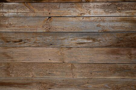 Photo pour Texture of old wooden wall with peeling beige paint from boards - image libre de droit