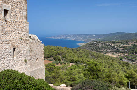 Medieval castle of Kastellos in Kritinia with views of the bay and mountains on the island of Rhodes (Greece).