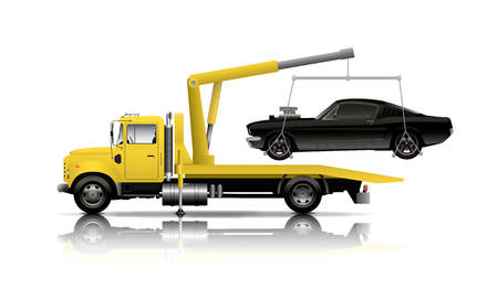 Illustration for YELLOW TOW TRUCK - Royalty Free Image