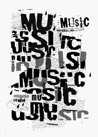 Symbolic image of the word music, which is written in black and white