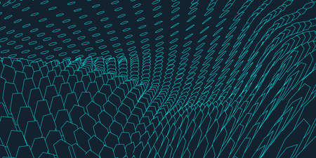 Abstract landscape background. Cyberspace grid. 3d technology illustration.